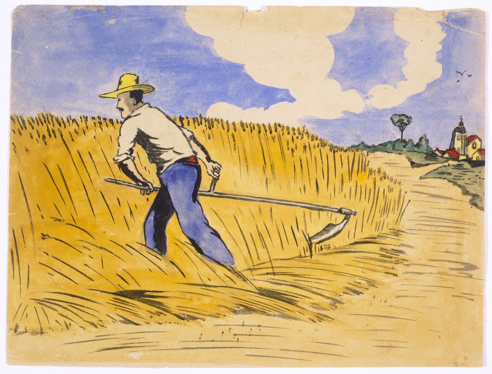 Watercolor painting by Simon Jeruchim depicting a farmer (his neighbor Pere Geslin) harvesting wheat.