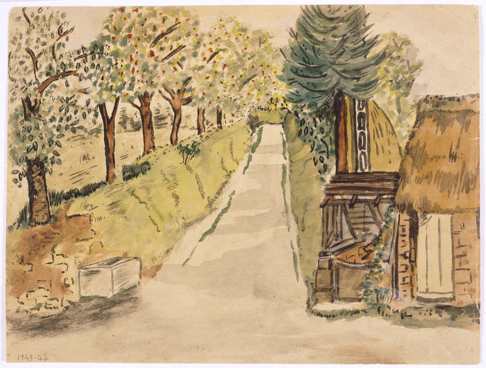 Watercolor painting by Simon Jeruchim.  The painting depicts a road in La Renouardiere, near the home of the artist's rescuer, Madame Prim.  The road led to the village.  An apple orchard is pictured on the left, and a well where they fetched water for their daily needs is seen on the right.