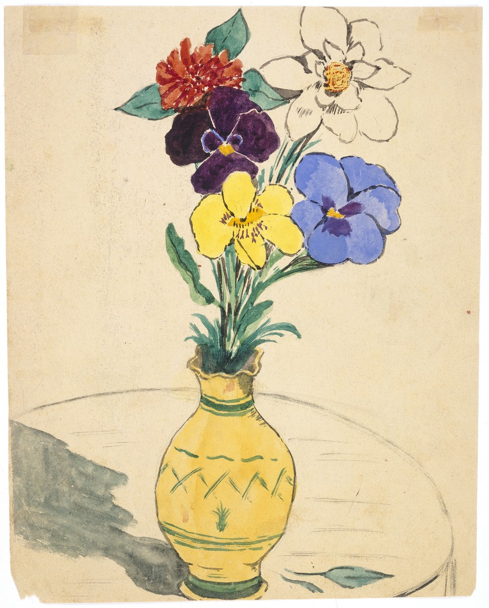 Watercolor painting by Simon Jeruchim depicting a vase of flowers on a table.