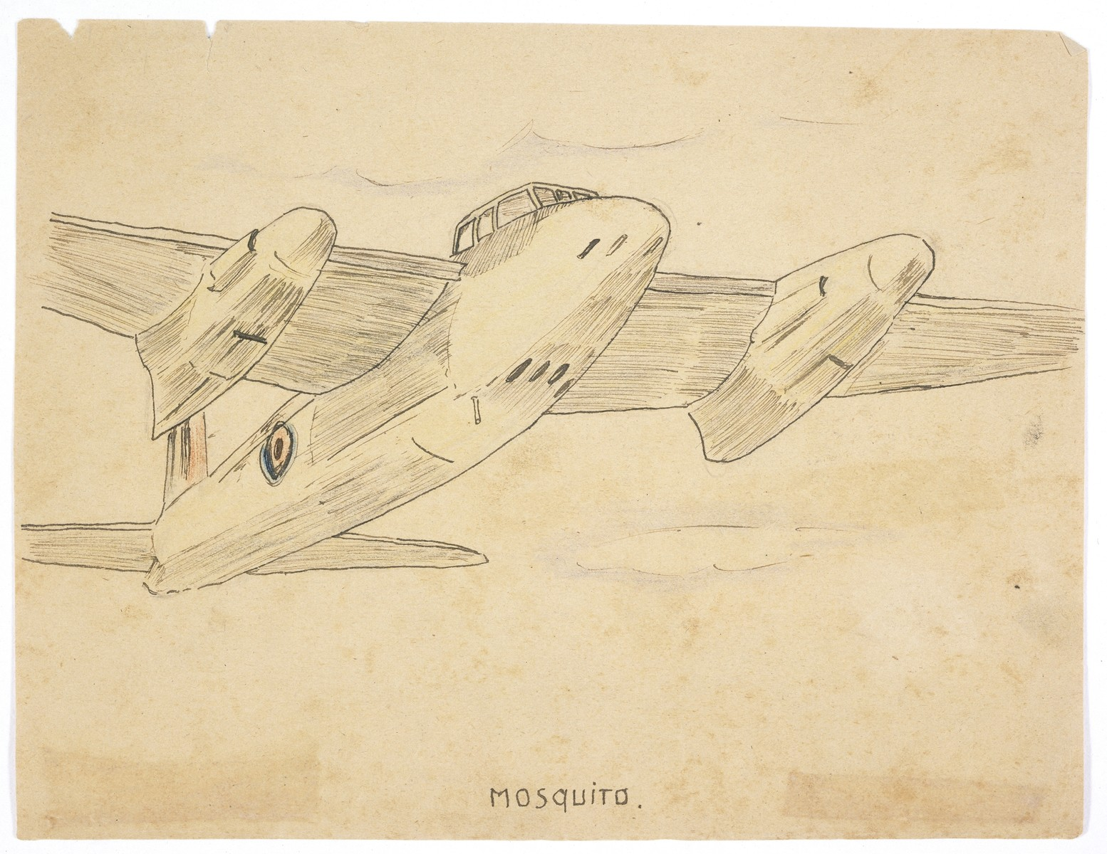 """Sketch by Simon Jeruchim entitled """"Mosquito,"""" depicting the British fighter plane."""