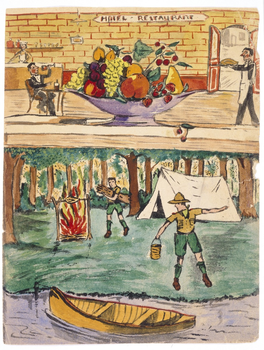 "Two watercolor paintings by Simon Jeruchim.  The top painting entitled ""Hotel Restaurant,"" is the first still life the artist ever drew.  Below is a depiction of a boy scout encampment.  The artist, who had always longed to be a boy scout, was given a scouting hat by a neighbor that left for America before the war."