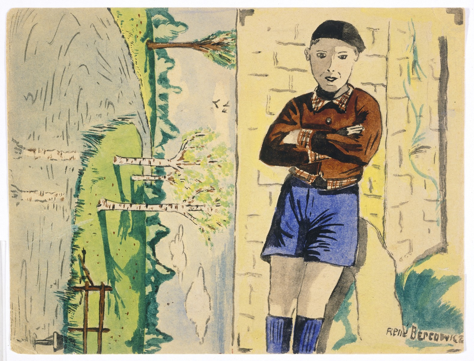 Two watercolor paintings by Simon Jeruchim.  At the right is an image of Rene Bercowicz, a Jewish acquaintance of the artist.  On the left is a picture of a river that Simon drew from memory.