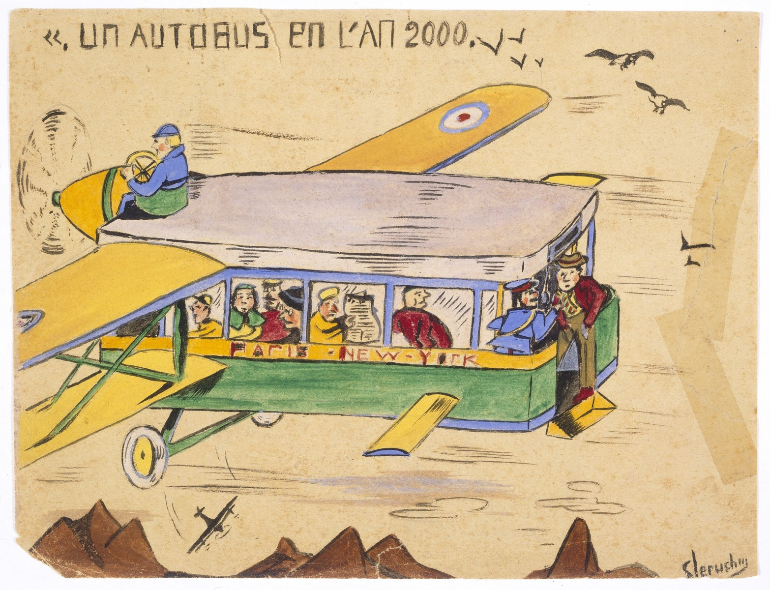 "Watercolor painting by Simon Jeruchim entitled ""A Bus in the Year 2000,"" depicting an airplane with the body of a bus."