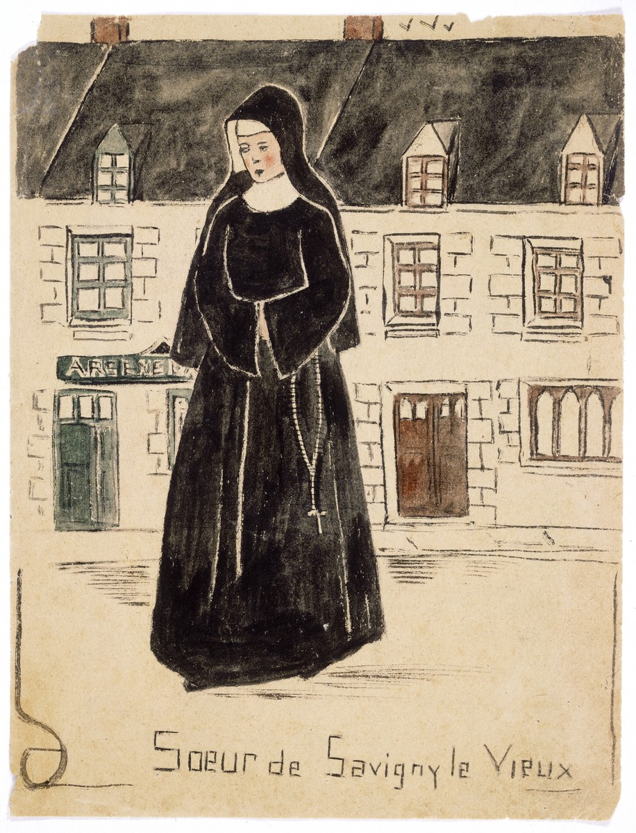 "Watercolor painting by Simon Jeruchim entitled ""Sister of Savigny le Vieux,"" depicting a nun the artist knew."