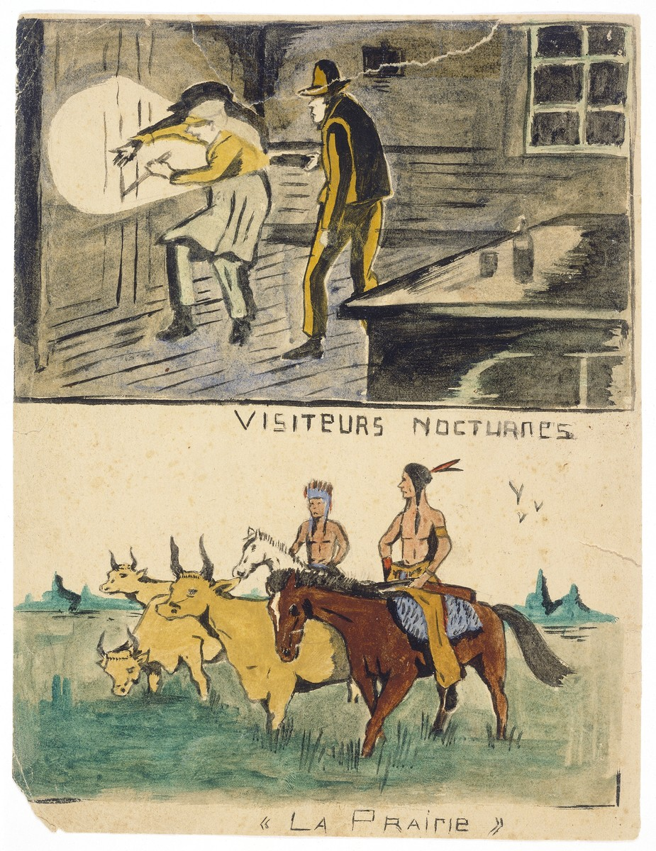 """Two watercolor paintings by Simon Jeruchim, entitled """"Nocturnal Visitors"""" (above) and """"The Prairie"""" (below)."""