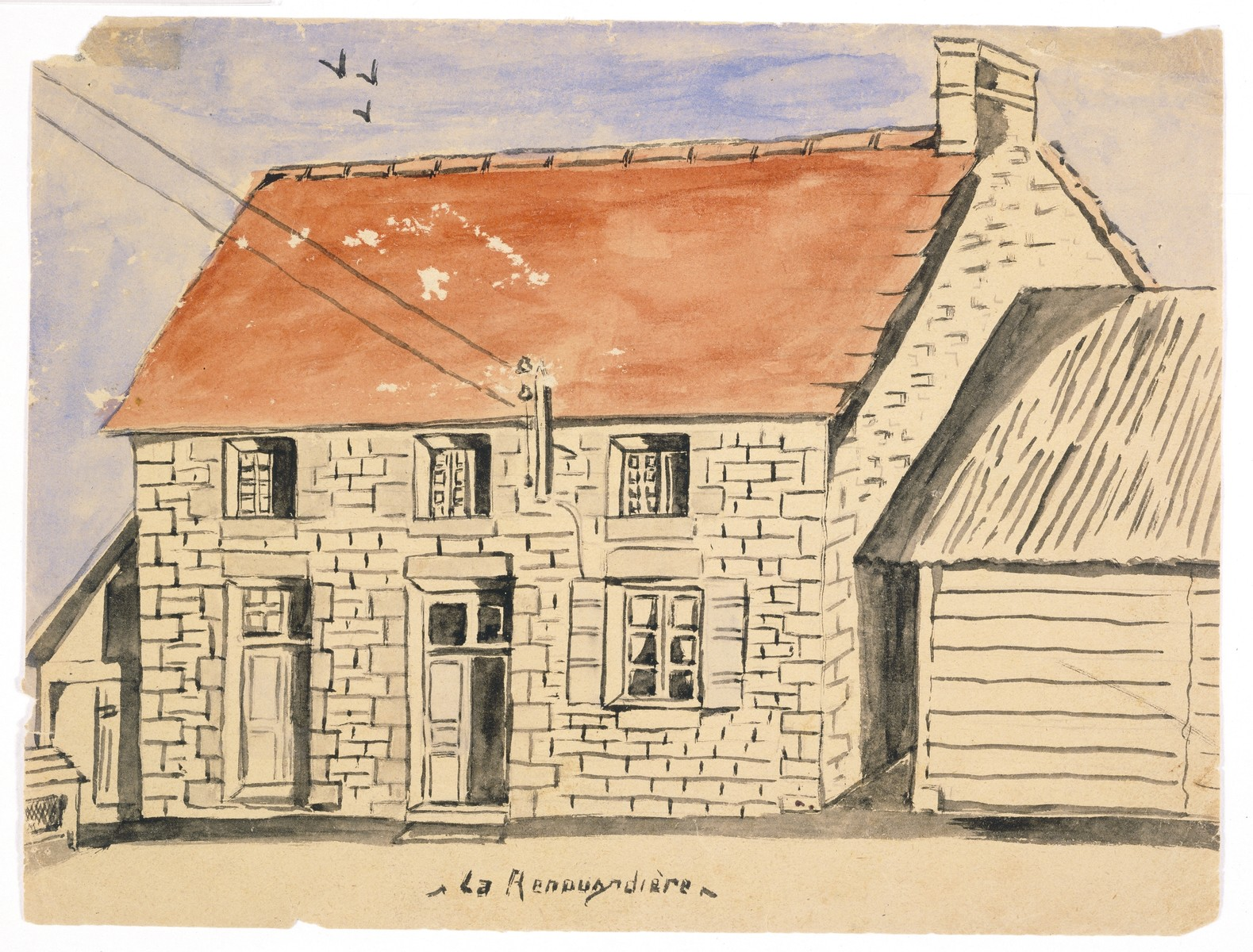 """Watercolor painting by Simon Jeruchim entitled """"La Renourdiere,"""" depicting the exterior of the house the artist lived in while hiding from the Nazis during the German occupation of France.   The top three windows look out from the the attic, where the artist hid."""
