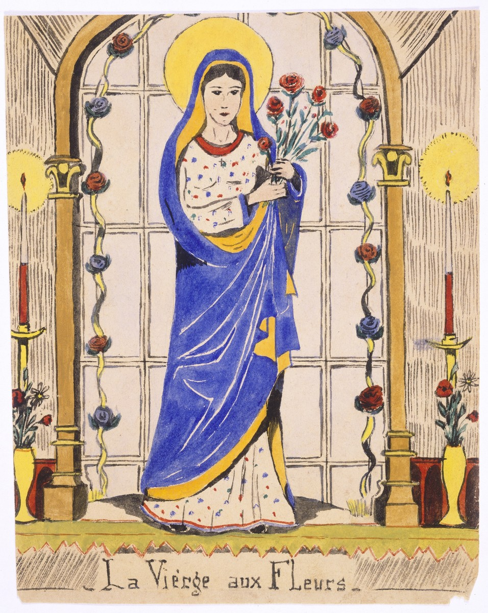 "Watercolor painting by Simon Jeruchim.  This drawing entitled ""La Vierge Aux Fleurs"" was influenced by a statue of the Virgin Mary that was in the home where the artist lived."
