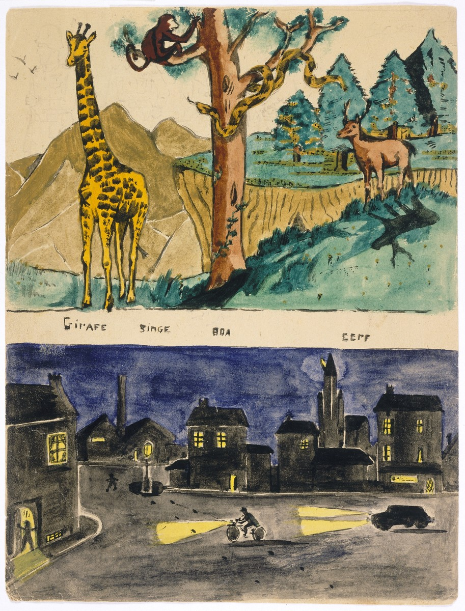 Two watercolor paintings by Simon Jeruchim.  Above is a jungle scene, probably copied from a magazine; below is a street scene with cops and robbers.