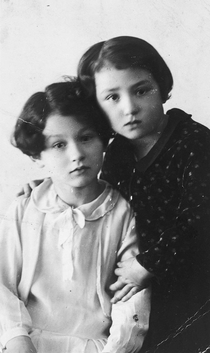 Prewar portrait of two Belgian Jewish sisters who later were killed in Auschwitz.  Pictured are Tauba and Catharina Frydland.