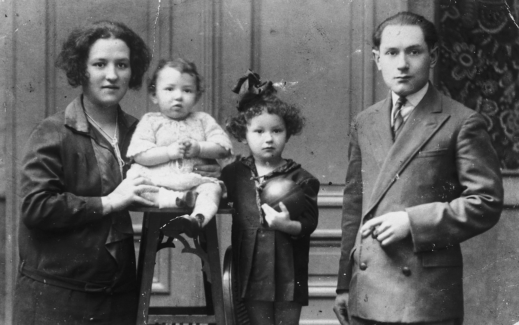 Prewar portrait of a Belgian Jewish family.  From left to right are Chaja Perla, Catharina, Tauba and Israel Mayer Frydland.  Israel Mayer and the two girls perished in the Holocaust.