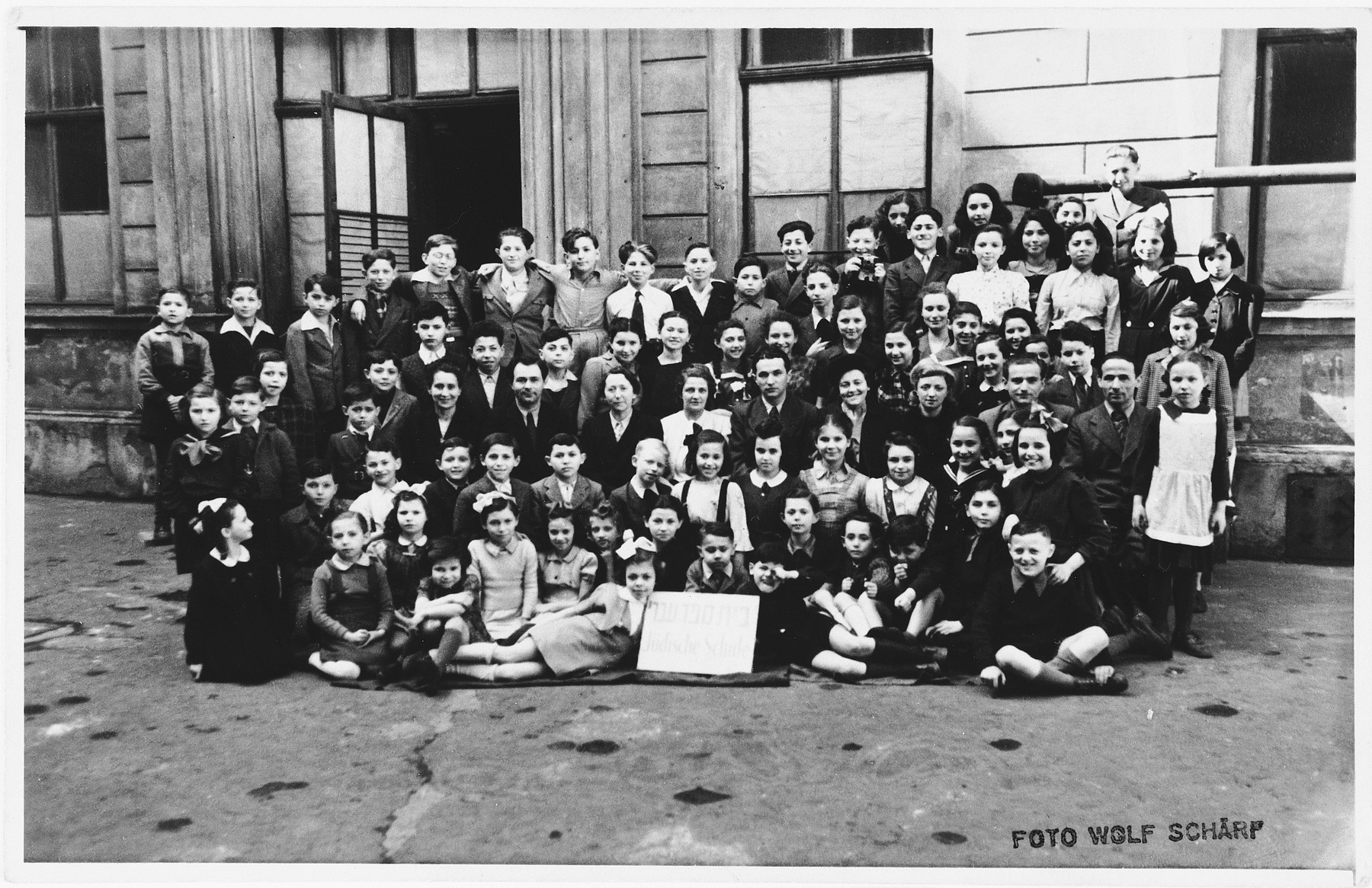Group portrait of the students in the Hebrew school in Vienna.