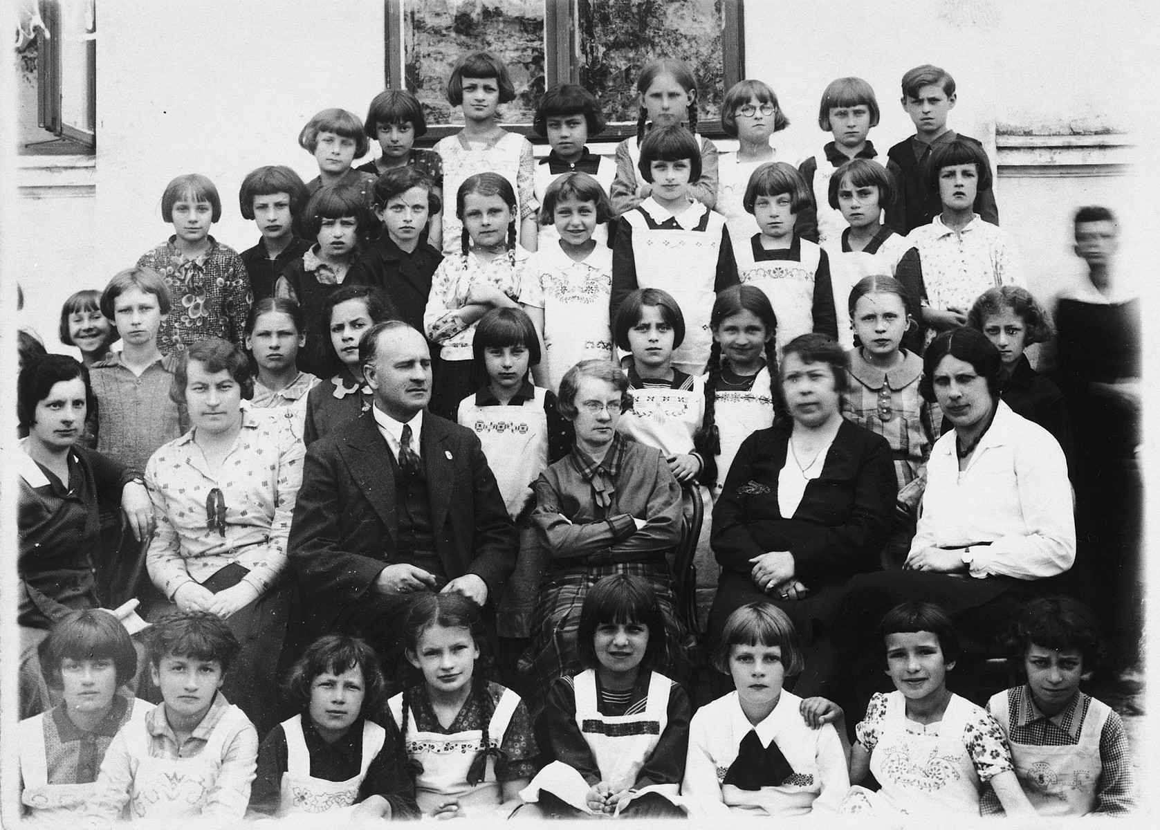 Group portrait of teachers and students at an elementary school for girls in Kolbuszowa.