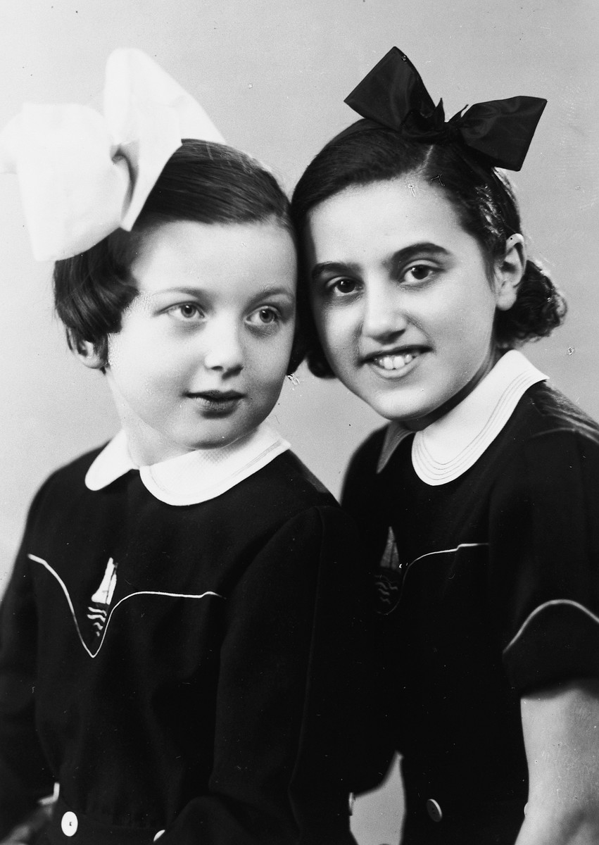 Close-up portrait of Kitty Weichherz and a friend.  This photo was taken from the diary of Kitty's life written by her father, Bela Weichherz.