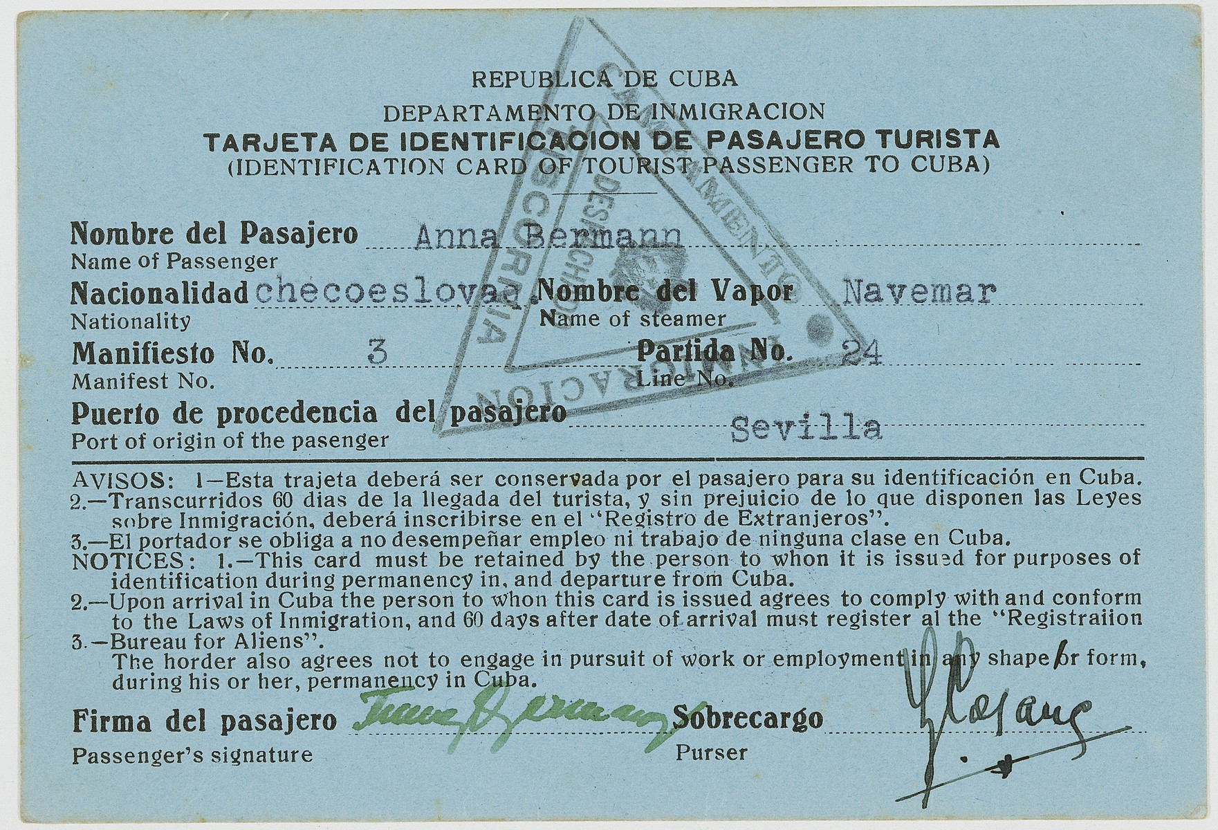 Identification papers issued to Anna Bermann allowing her to enter Cuba as a tourist.