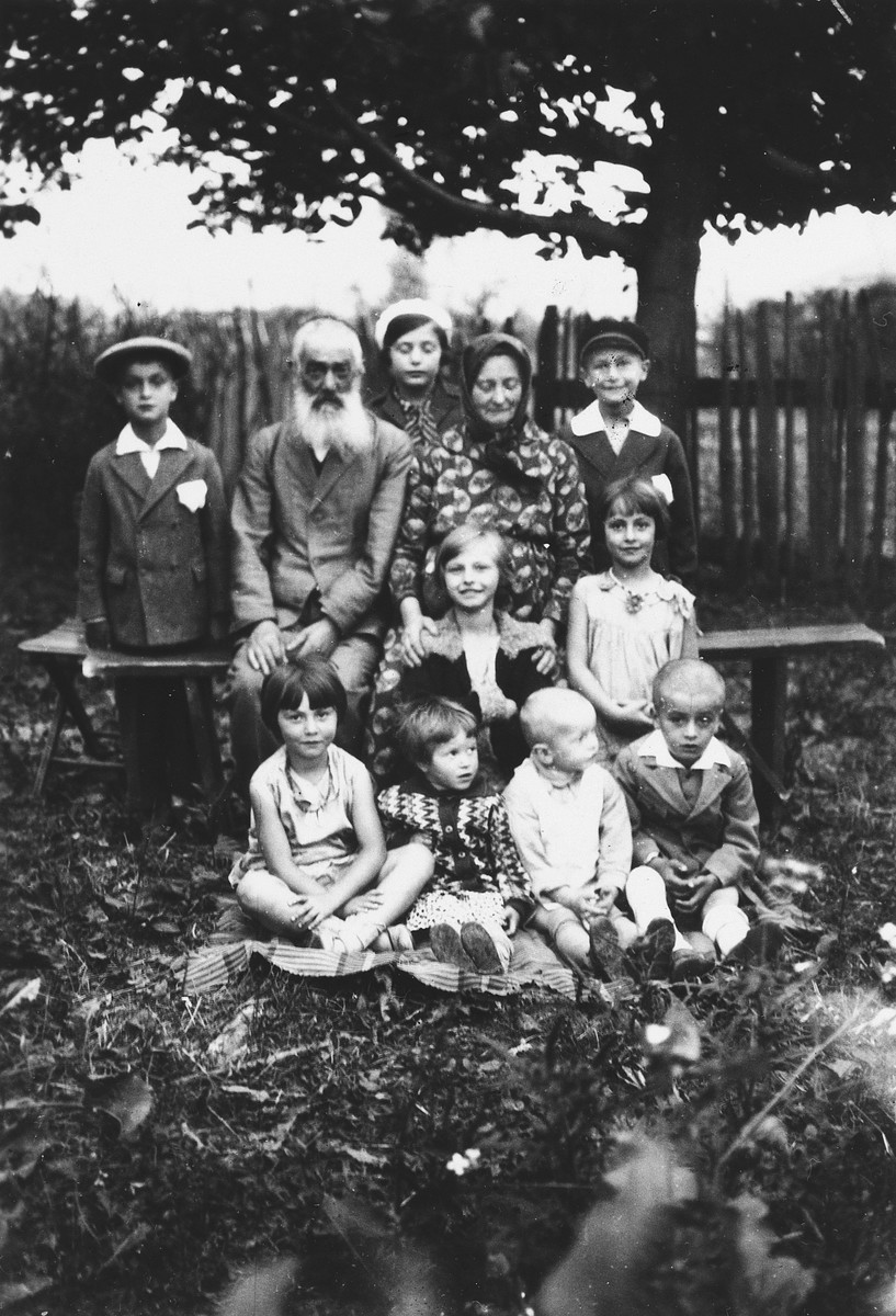 An elderly Jewish couple poses in a garden surrounded by their grandchildren.  Seated in the front row from the left are: Celia Petranker, Avram's daughter and Perel's two sons.  Second row: Pepka Petranker and Mania Petranker.  Back row: Hershel (Perel's son), Josef Petranker, Celia Petranker, Chana Lea Petranker, and Leo Petranker.
