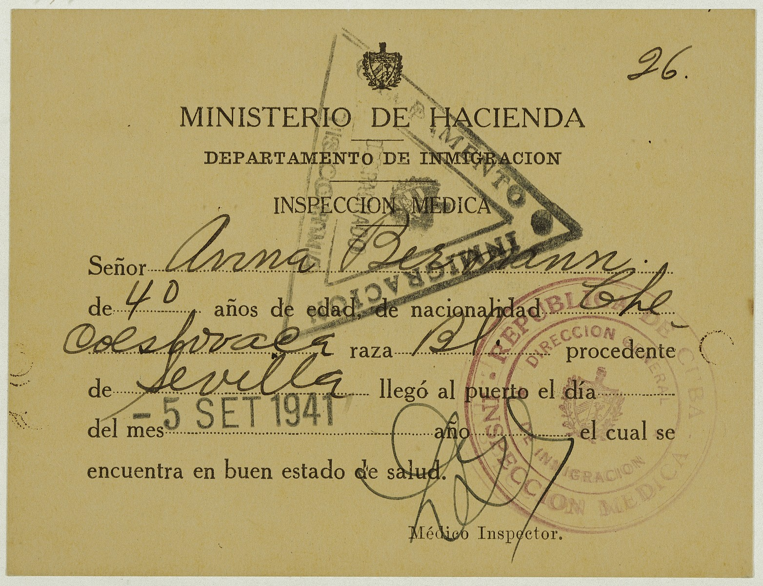 Health certificate issued to Anna Bermann allowing her to enter Cuba.