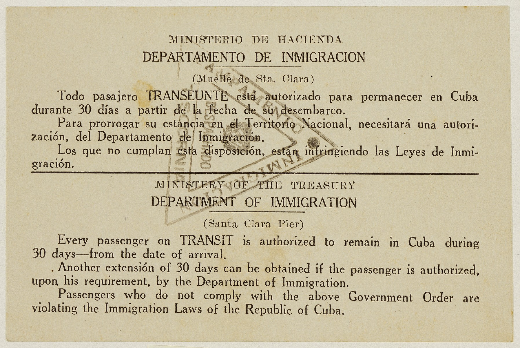 Transit visa issued to Anna Bermann allowing her to enter Cuba.
