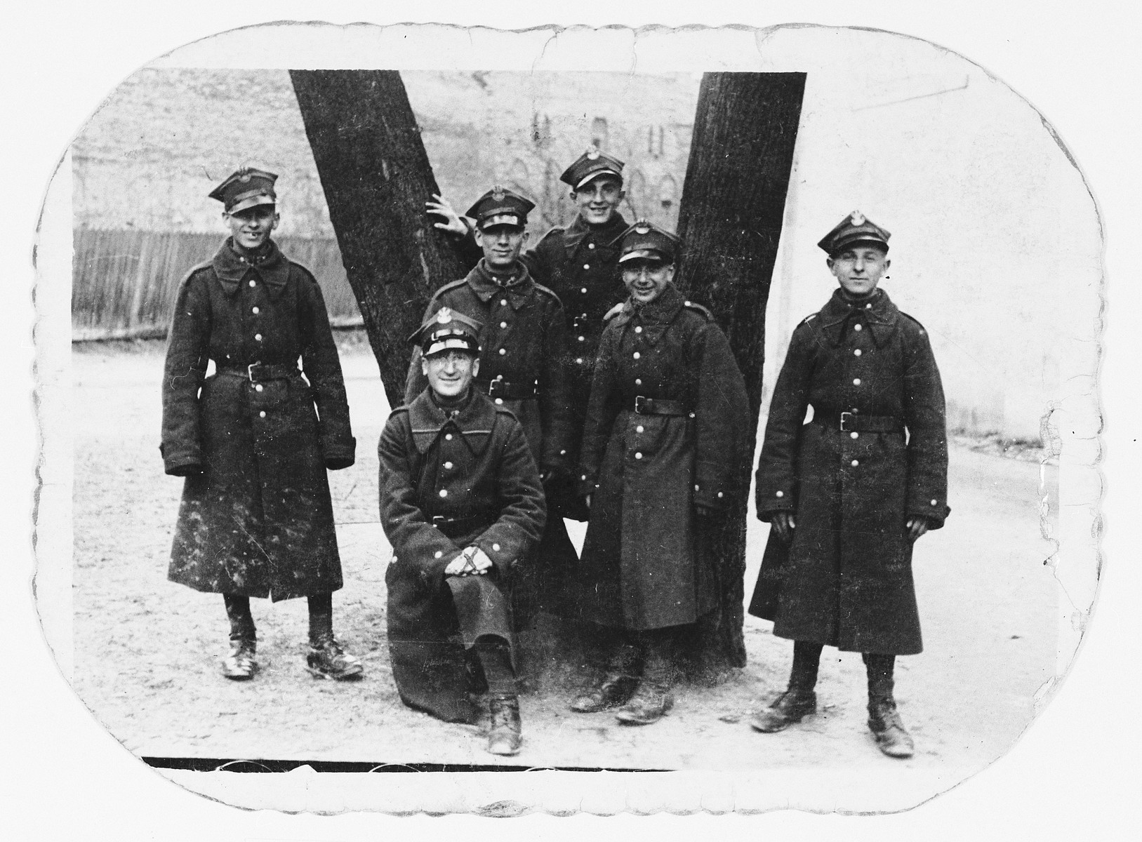 Portrait of six Polish Jewish soldiers.  Pictured in the center is Shlomo Federman.