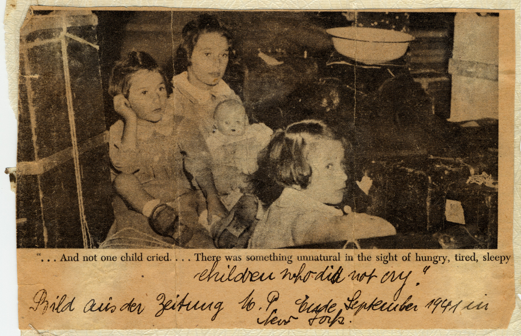 Newspaper photograph of three young sisters who arrived in New York on the overcrowded refugee ship, the Navemar.  Pictured are Karen, Marion and Renate Gumprecht.