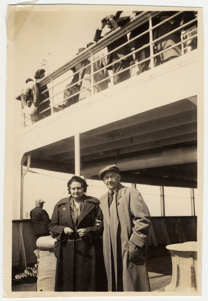 An Austro-Hungarian Jewish couple poses on board the S.S. Washington en route to the United States.  Pictured are Lily and Ernest Brod.