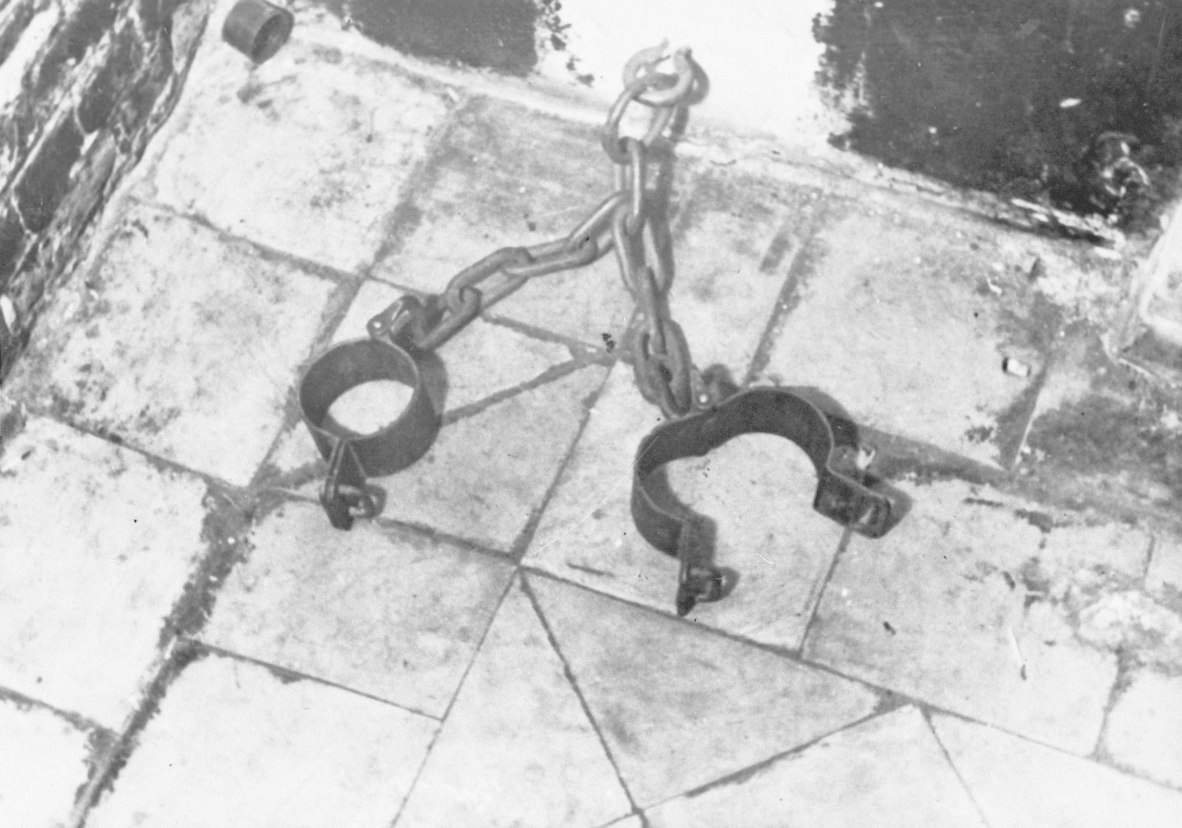 Legs irons used in a cell of the Breendonck concentration camp.