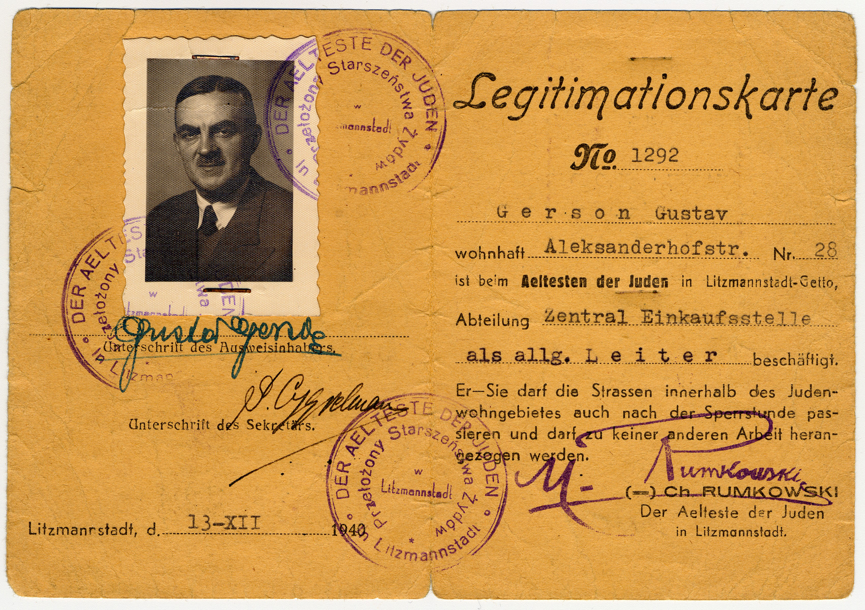 Identification card issued to Gustaw Gerson in the Lodz ghetto.