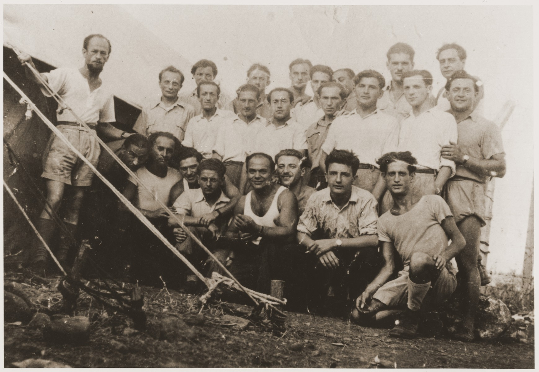 Members of the Nekama group during their imprisonment at the Athlit detention camp near Haifa.