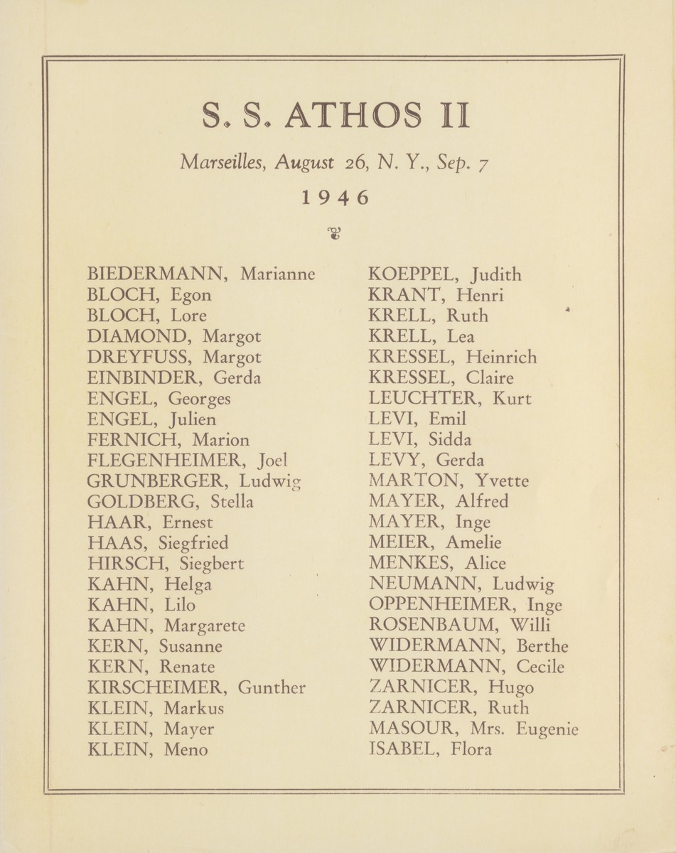 List of children on board the SS Athos II who came to the United States from Marseilles, France.  All of them had been cared for by OSE.