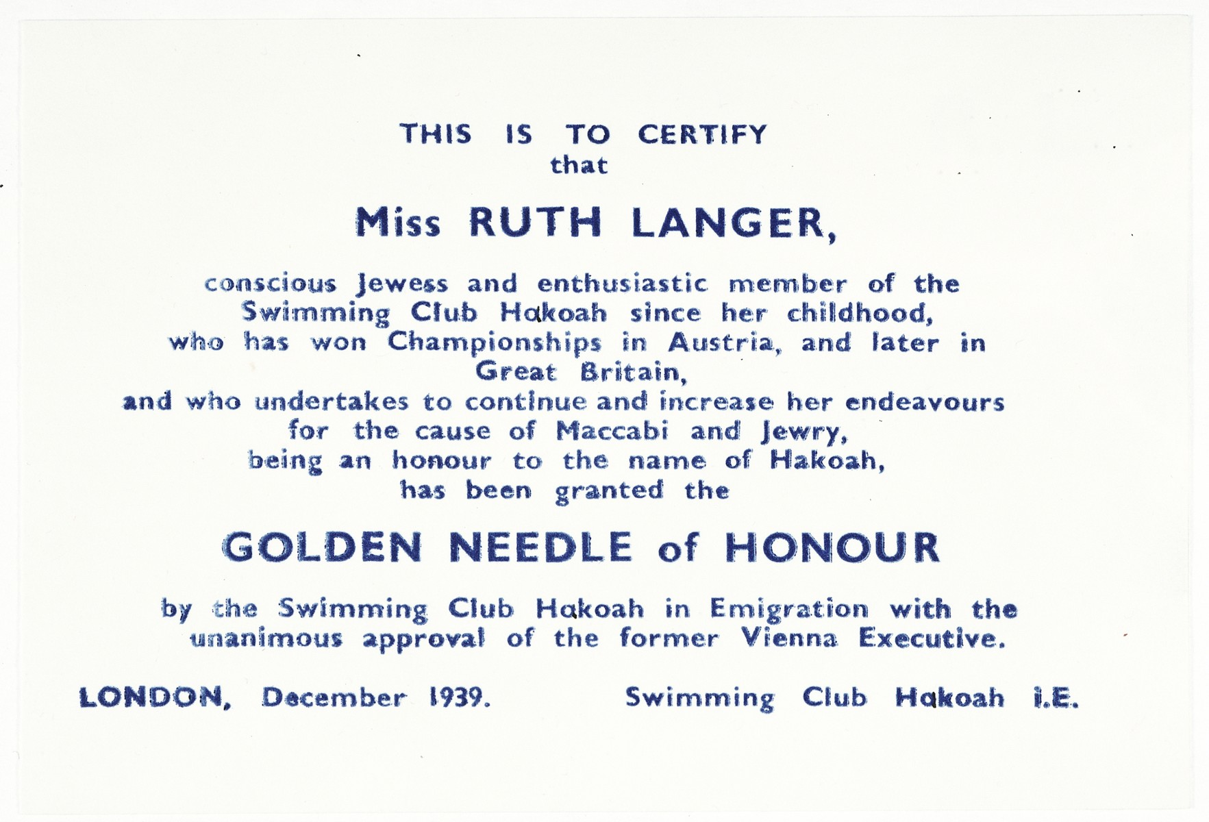 Certificate of award given to Ruth Langer for her contributions to the Hakoach Jewish swim club.
