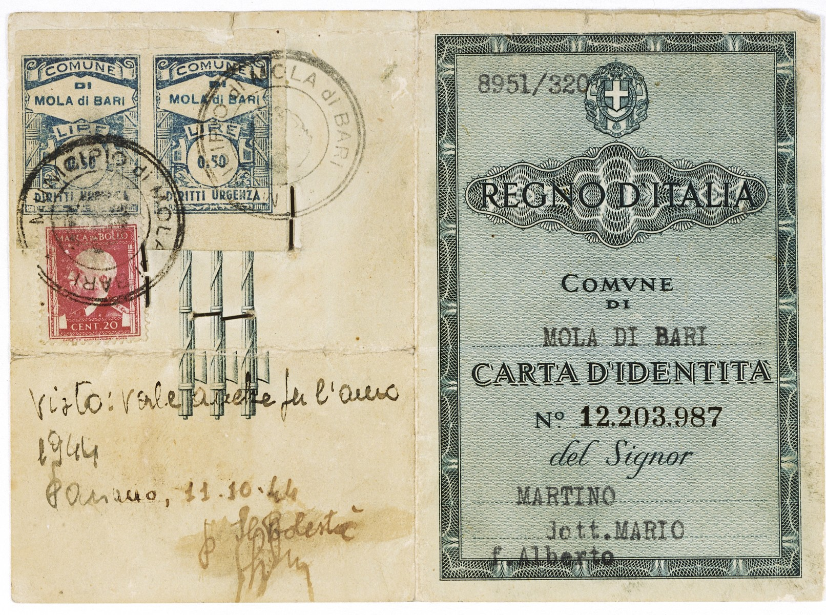 False identification card issued to the Italian Jew Marcello Morpugo, who was living under the alias Mario Martino during the German occupation of Italy.