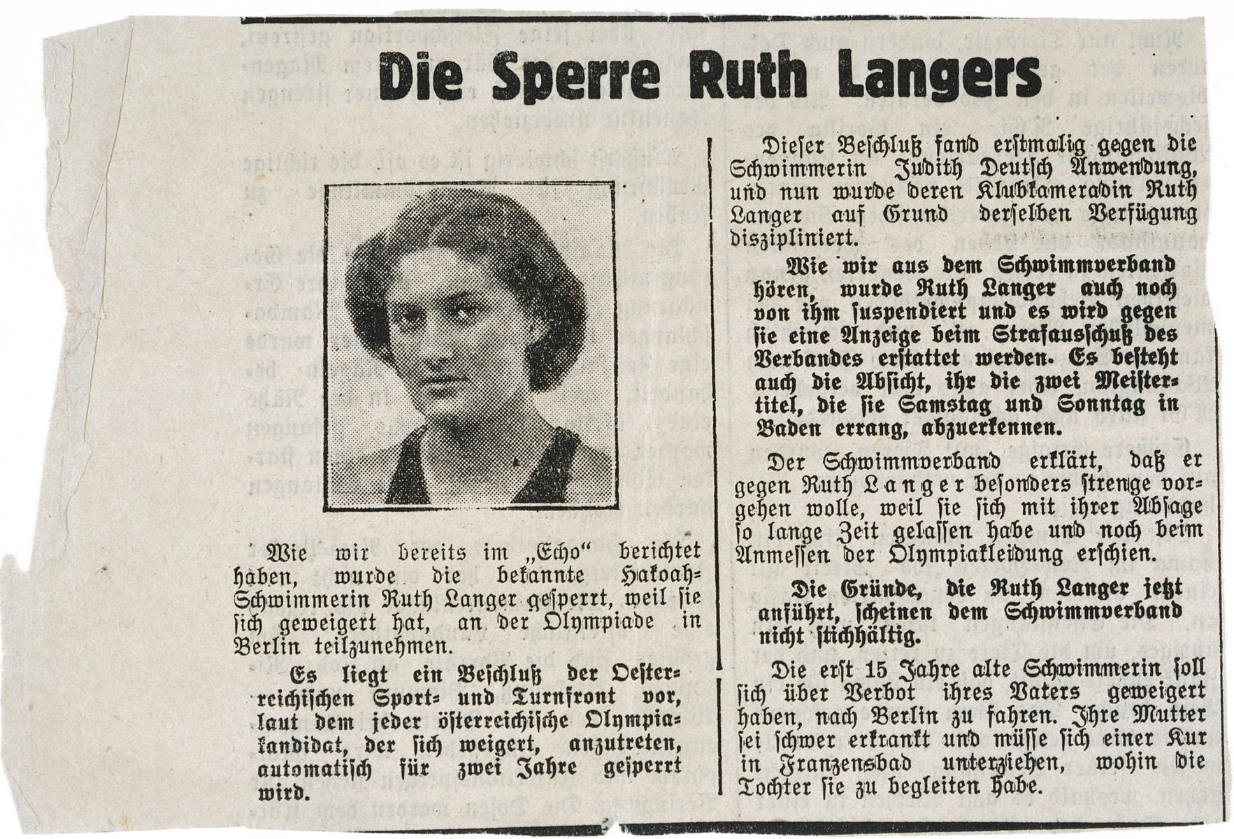 Newspaper article announcing the exclusion of Ruth Langer from Austrian swimming events because of her refusal to participate in the Berlin Olympics.