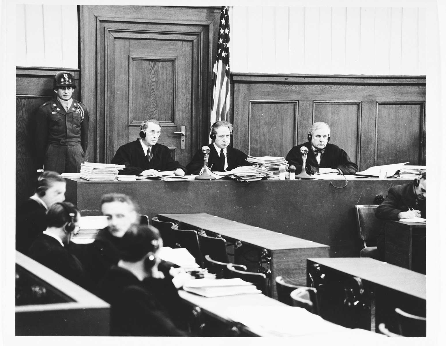 The judges of Military Tribunal II-A, hearing the Einsatzgruppen Trial.    Pictured from left to right are: John J. Speight, Michael A. Musmanno, and Richard D. Dixon.