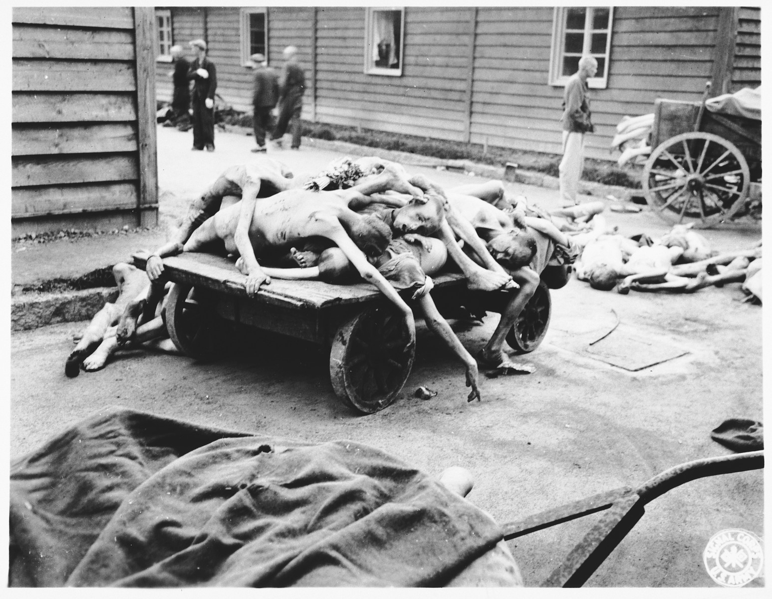 View of a cart laden with the bodies of prisoners who perished in the Gusen concentration camp.