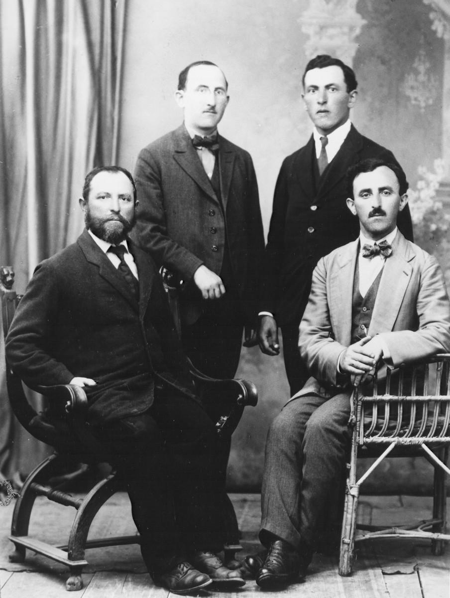 Portrait of the four Andermann brothers, the sons of Schlojme and Feige Andermann, in Suceava, Romania,   Pictured from left to right is David, who took over his father's store in Suceava;  Adolf, who trained as a biologist and then a manufacturer of cutlery; Herman, who became a partner in the factory; and Isiu Andermann, who became a professor of classics at a gymnasium in Doroho and an owner of a tannery in Radautz, where he lived.