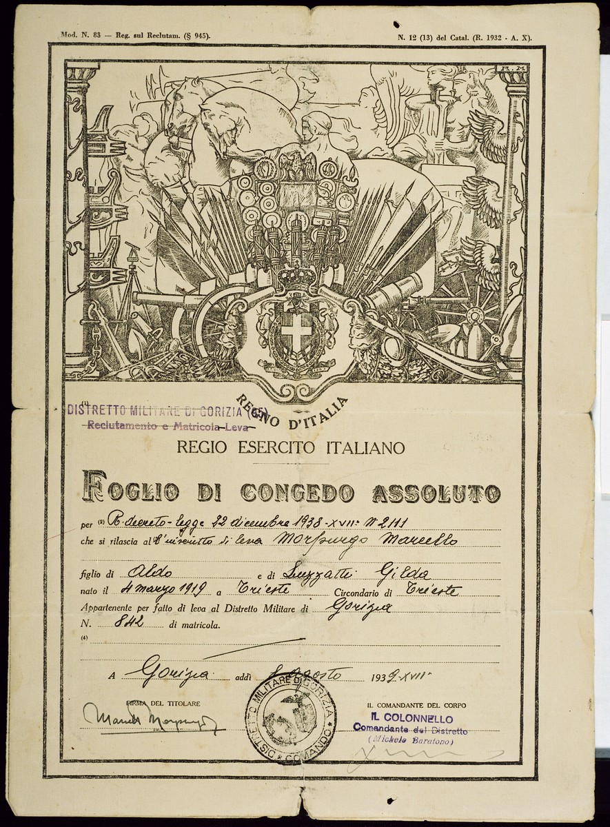 Document releasing the Italian Jew, Marcello Morpugo, from the Italian army following the imposition of the racial laws.