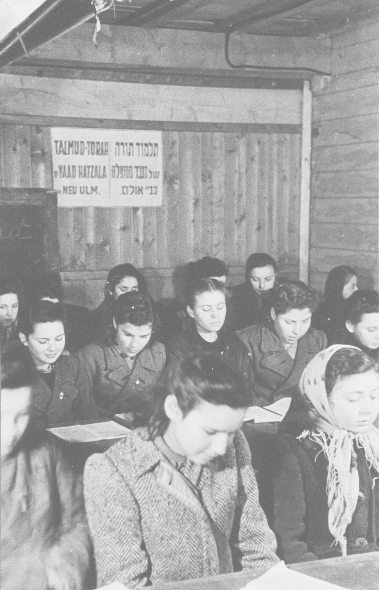 Girls study in a Talmud Torah (religious school) in New Ulm sponsored by the Vaad Hatzala.