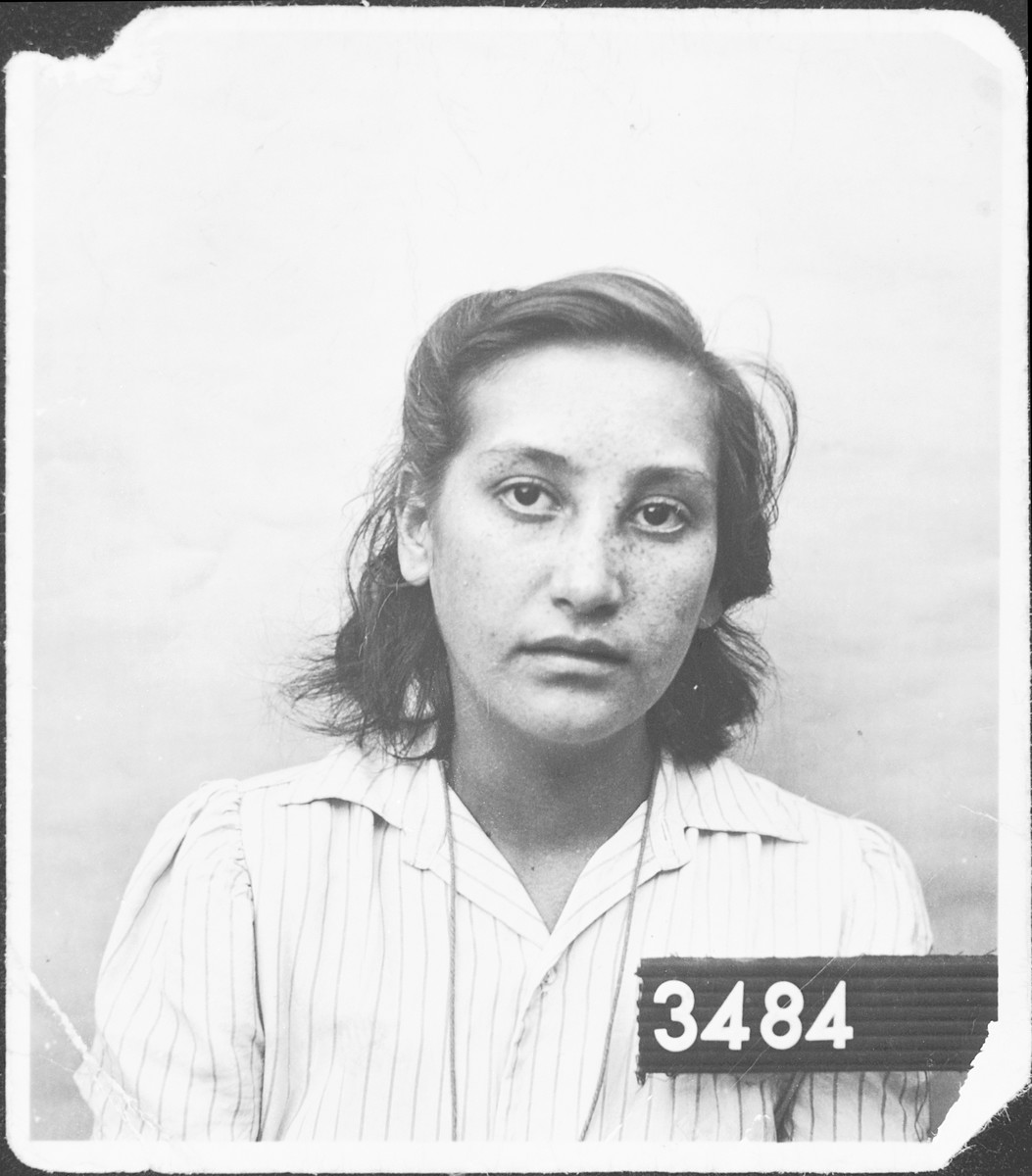 Olga Jakubovits poses for her entry photo as Jewish refugee in Malmo, Sweden.