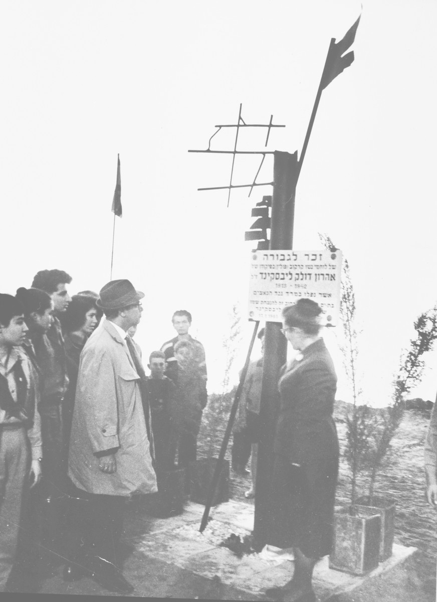 Jewish survivors stand at the memorial of Aharon Dolek Liebeskind.