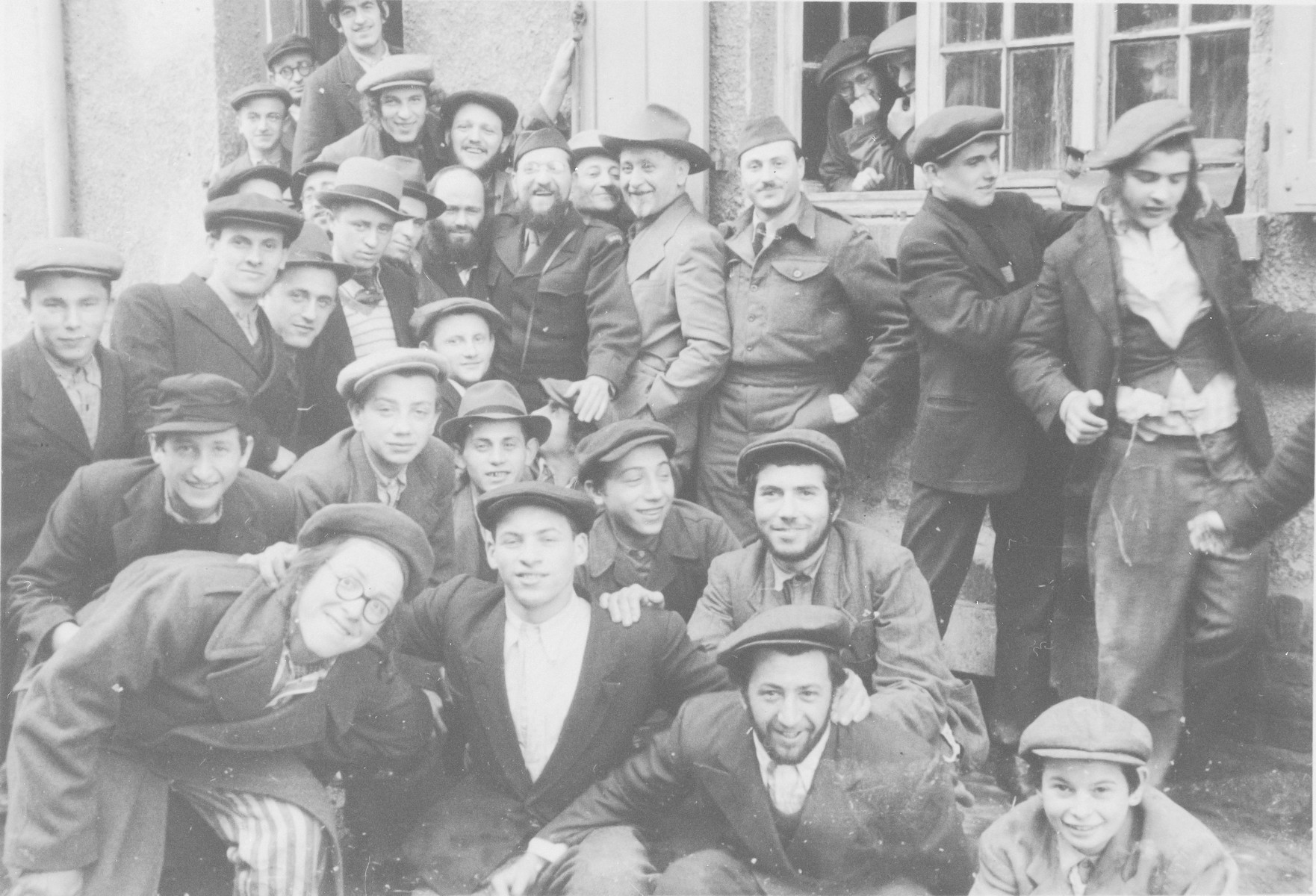 Group portrait of students in the Yeshiva Beth Joseph in the Zeilsheim displaced persons' camp.