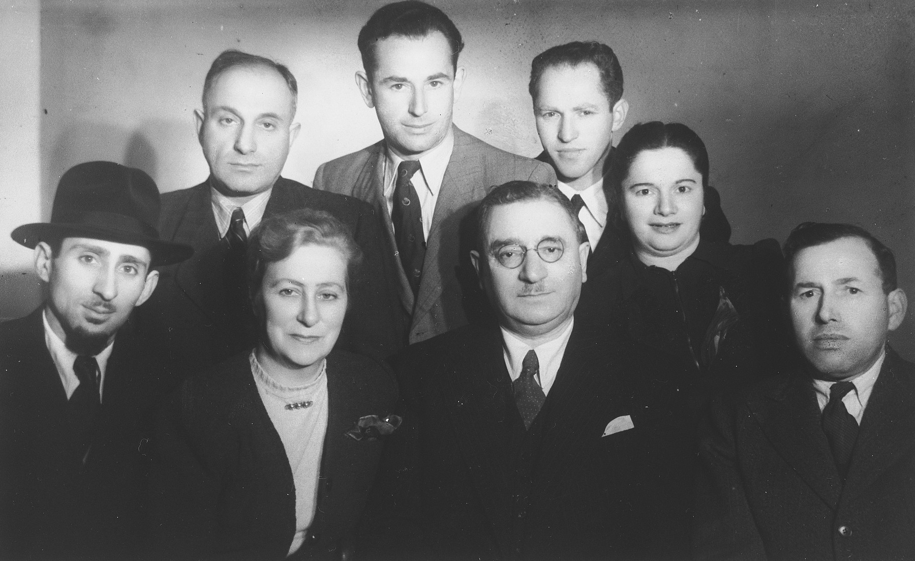 Group portrait of Lithuanian born Jewish displaced persons in Rome.  Pictured in the front row, second from the right is Dr. Elias Sedlis.