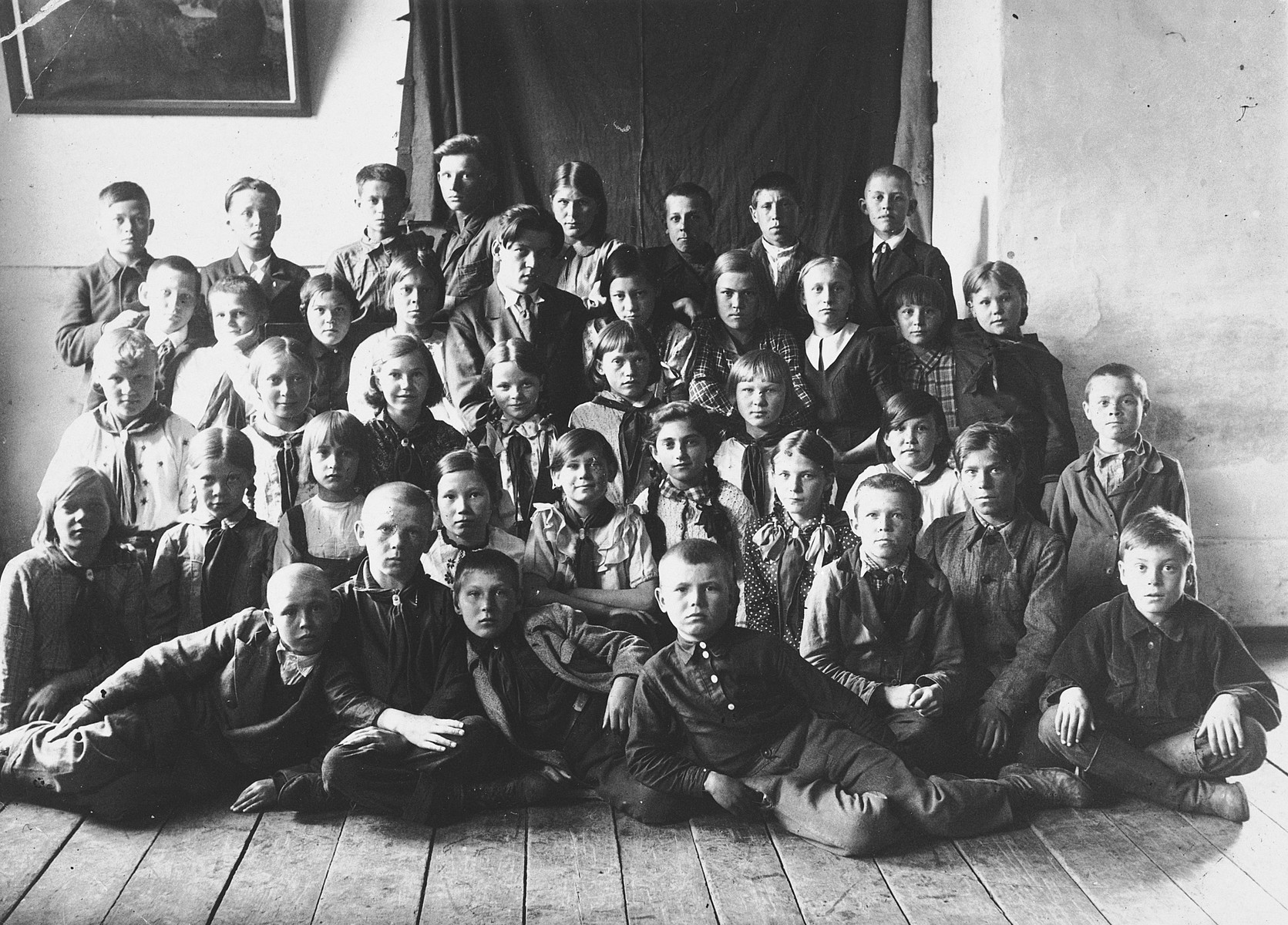 Group portrait of children, both Russian and Jewish, in a school in a small village near Irkutz.