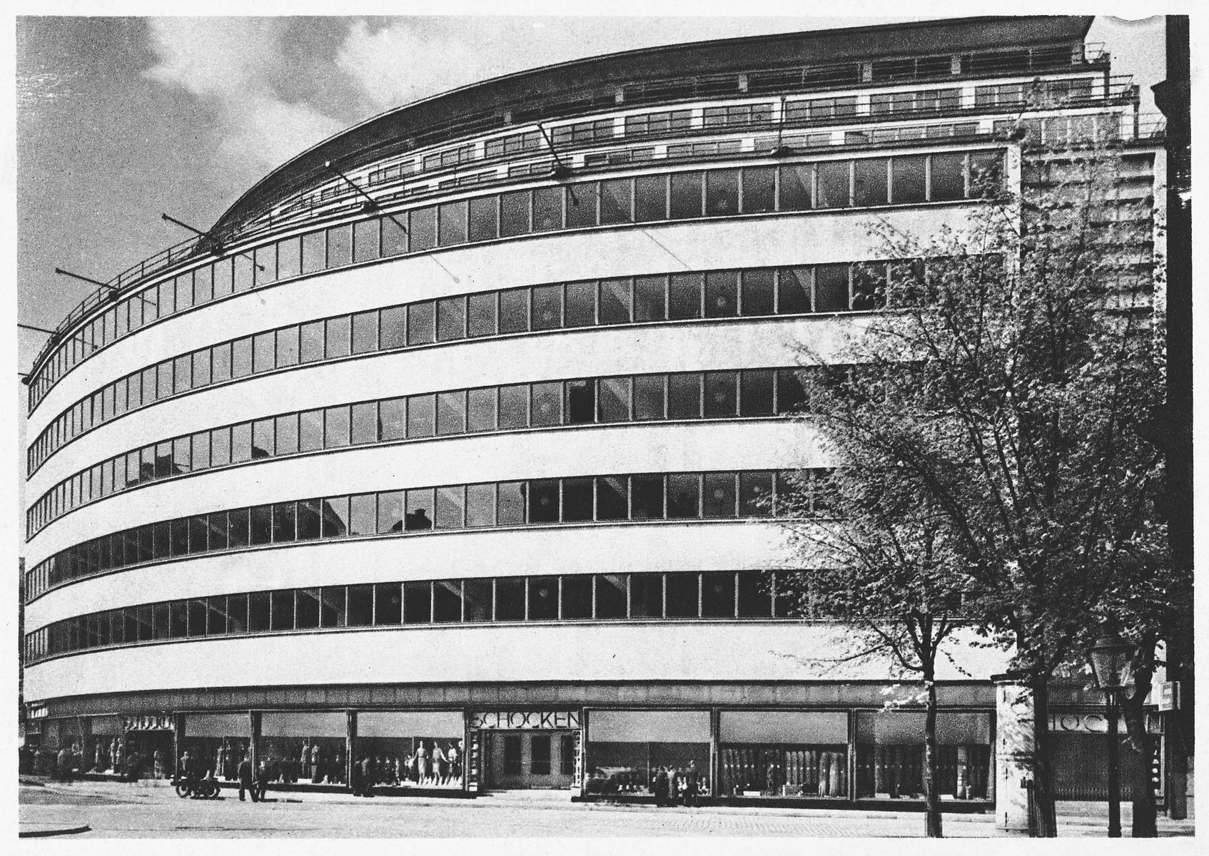 Exterior view of the Schocken department store in Chemnitz, Germany.
