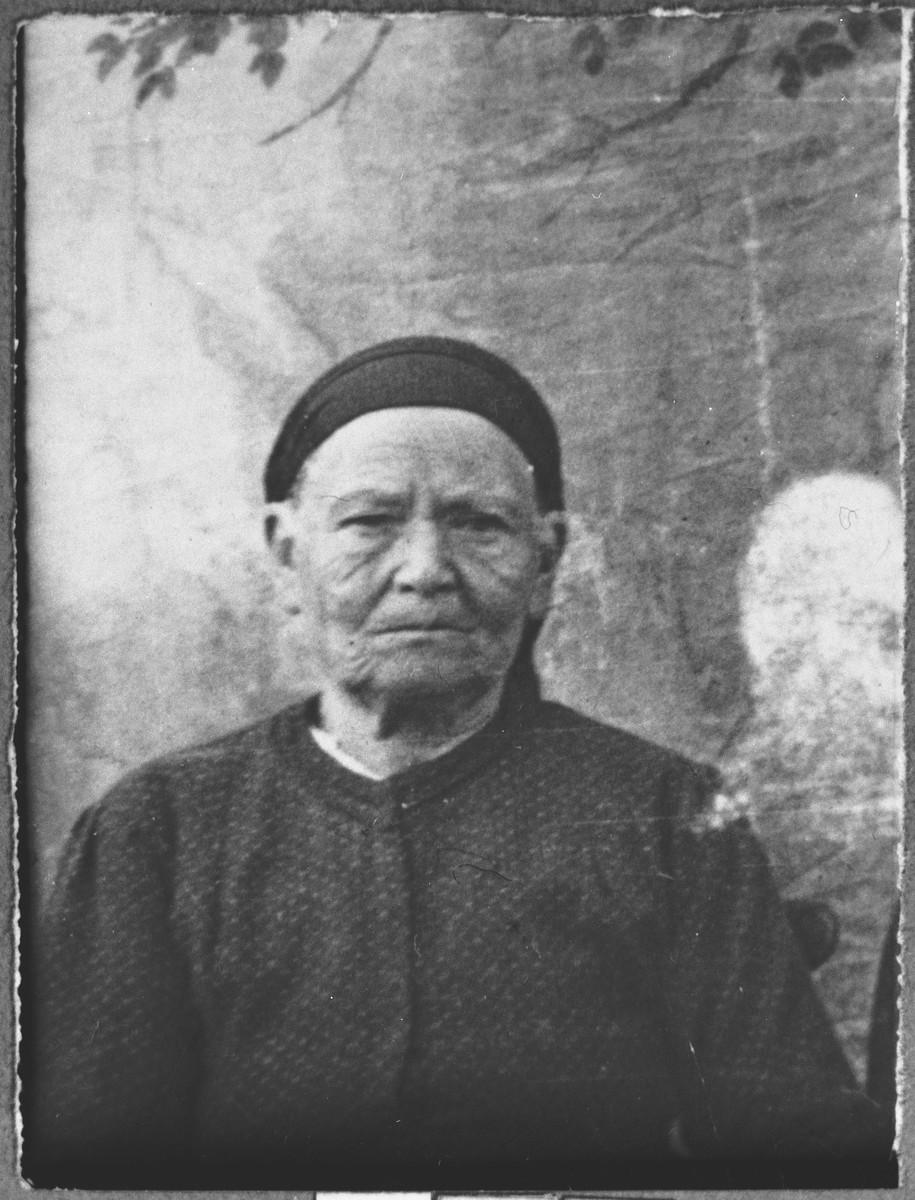 Portrait of Ester Pesso, wife of David Pesso.  She lived at Novatska 4 in Bitola.