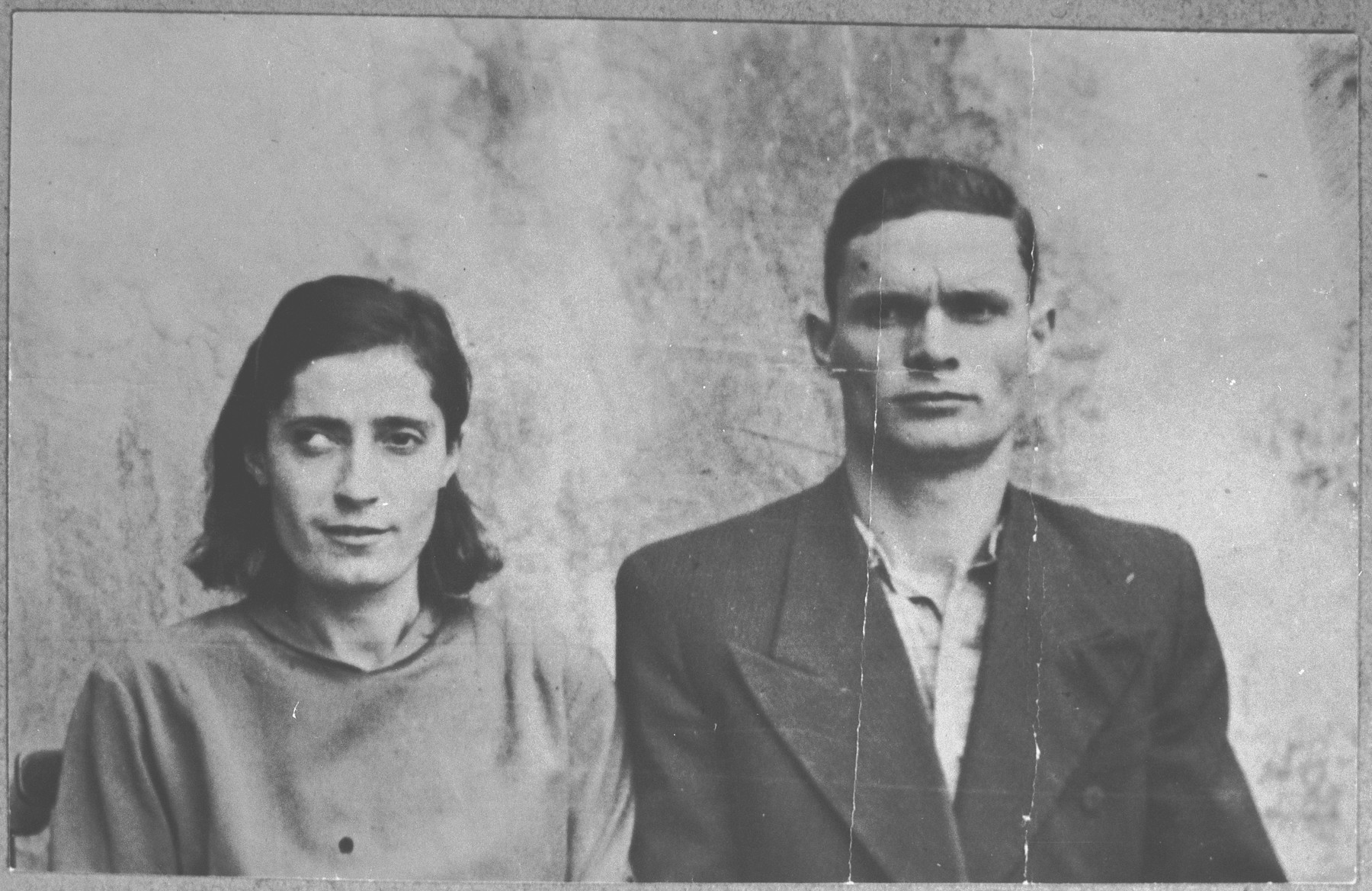 Portrait of Baruch Kamchi and his wife, Reina.  Baruch was a rag dealer.  They lived at Gligora 29 in Bitola.