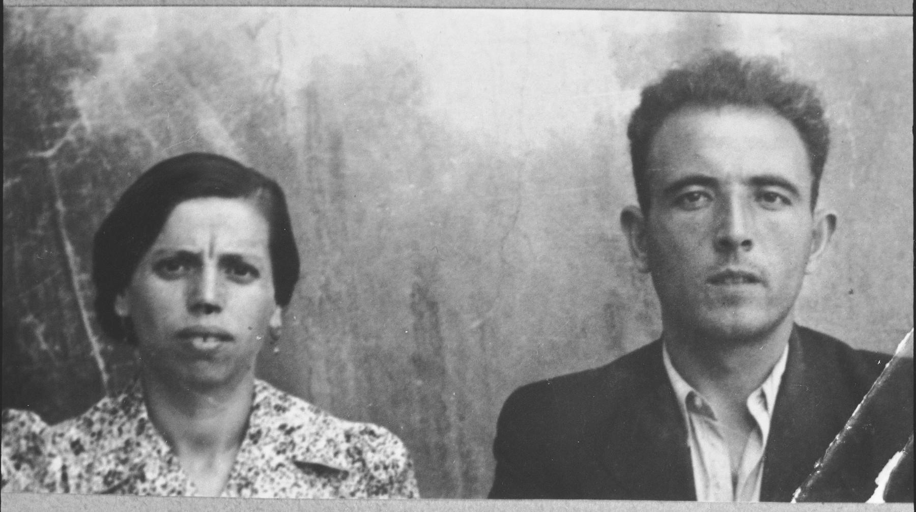 Portrait of Isak Kalderon, son of Mushon Kalderon, and Isak's wife, Arnesta.  Isak was a peddler.  They lived at Dalmatinska 65 in Bitola.