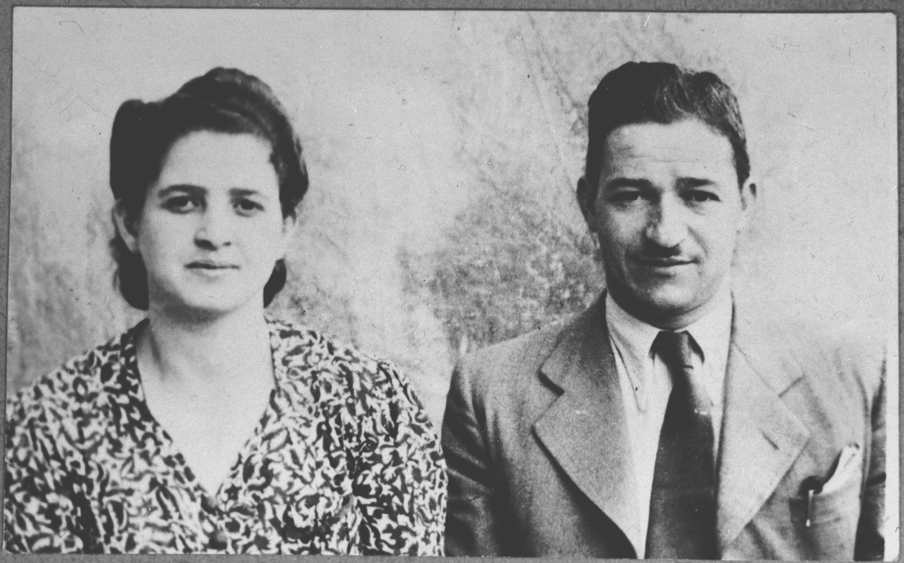Portrait of Aron Kamchi and his wife, Rebeka.  Aron was a tailor.  They lived at Gostivarska 3 in Bitola.