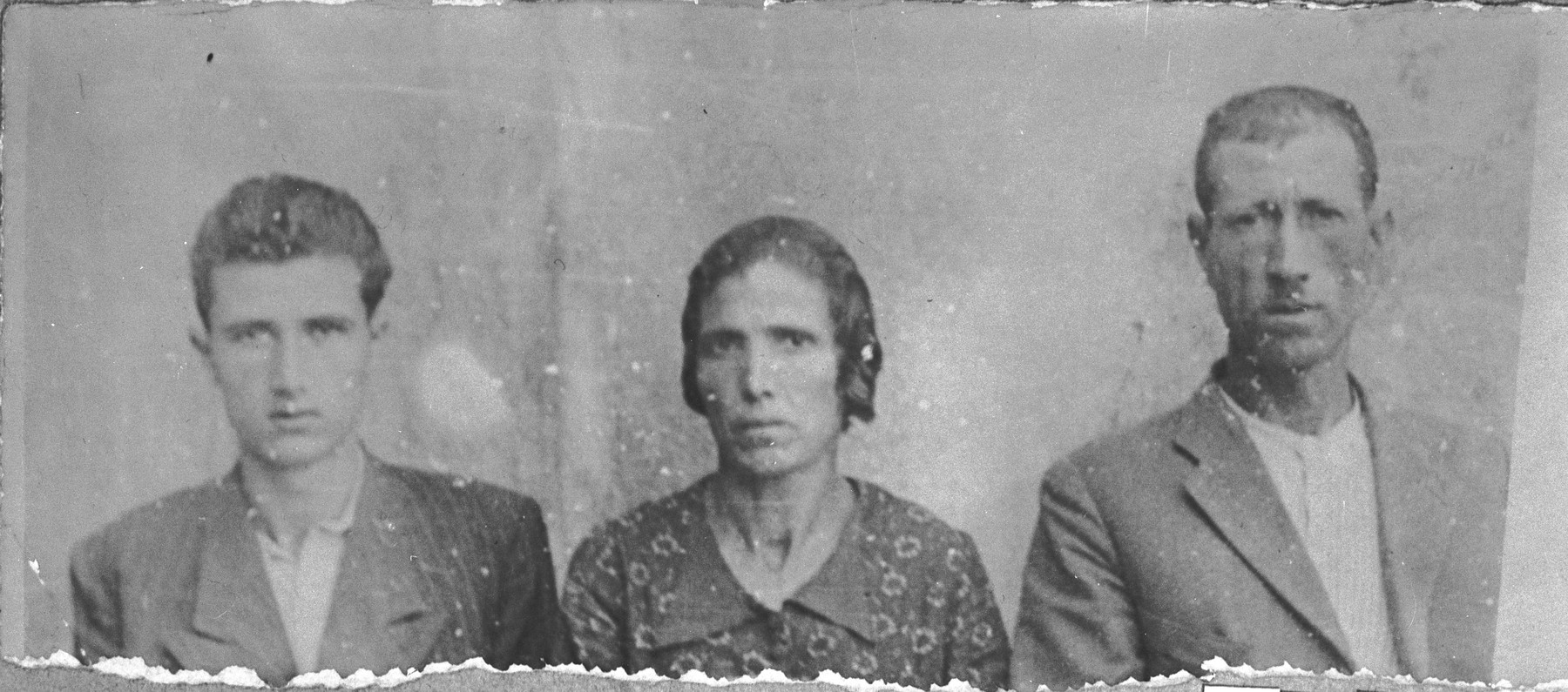 Portrait of Bohor Kamchi, son of Mushon Kamchi, Bohor's wife, Louisa, and his son, Mois.  Bohor was a plumber and Mois, a student.  The lived at Orisarska 7 in Bitola.