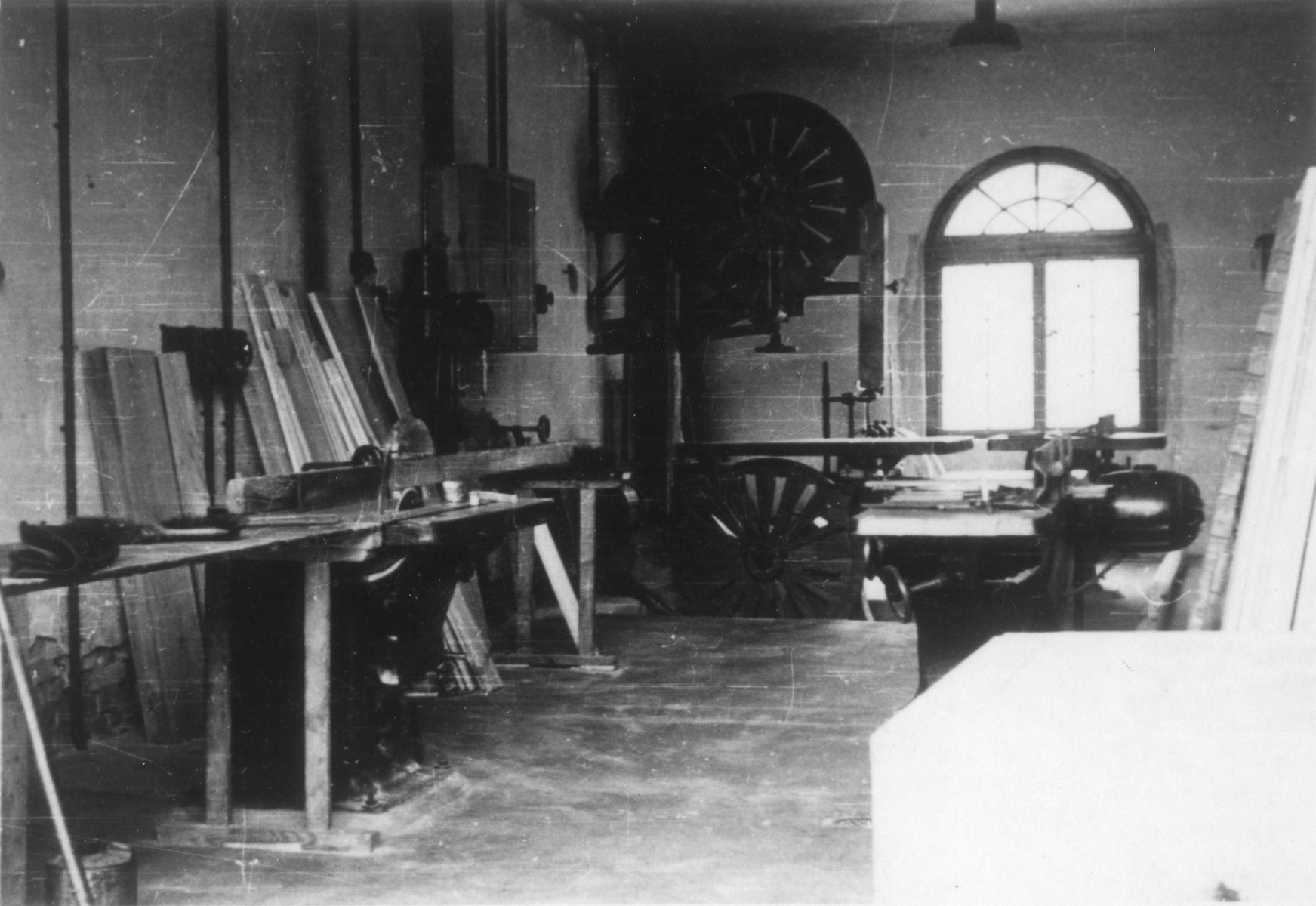 View of the carpentry shop in the Gross Breesen agricultural training center.