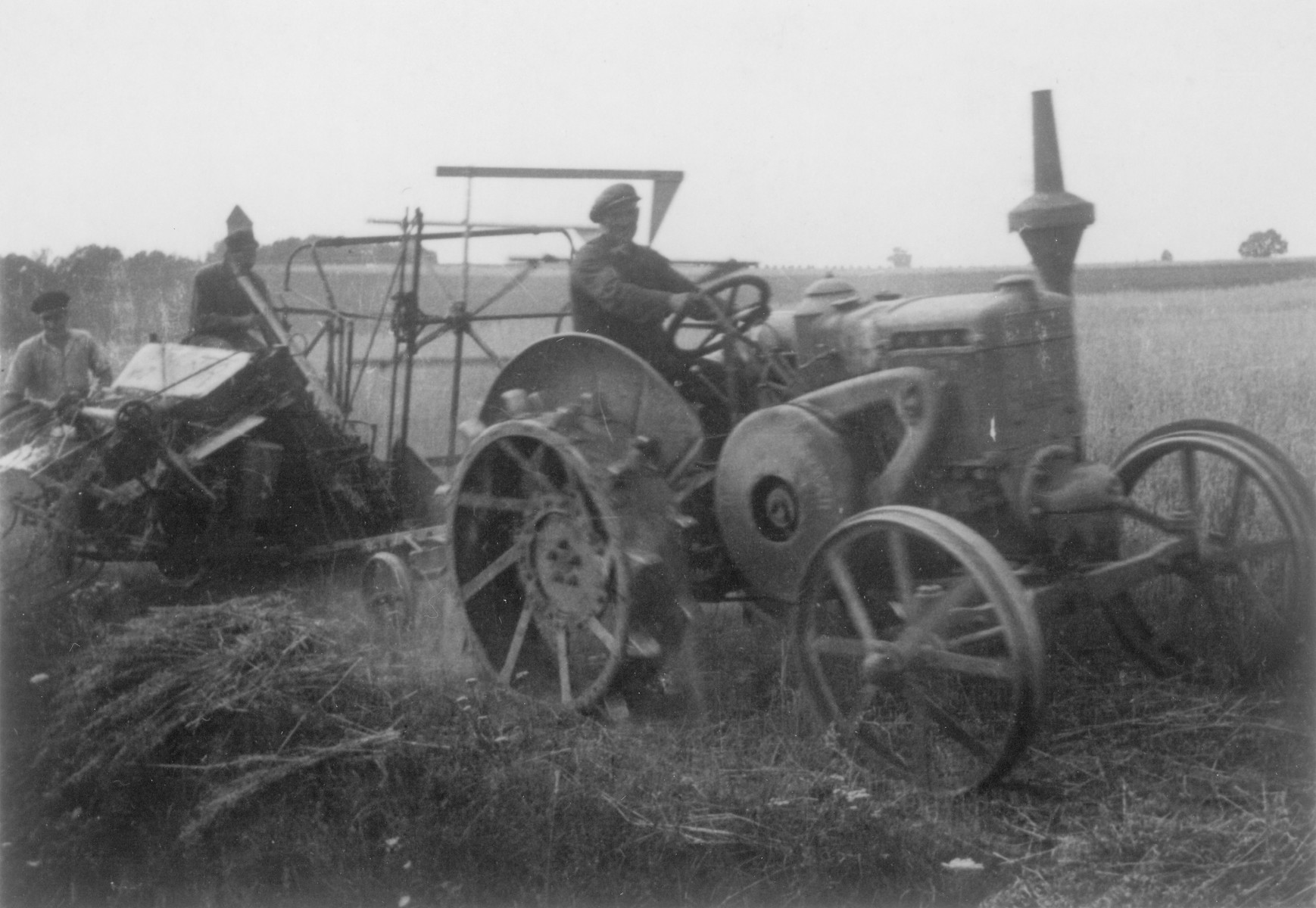 German Jewish youth learn agricultural skills in a training farm outside of Breslau.  Pictured from left to right are Pitt, Hans Wolfe, and Mr. Krause, who was not Jewish.