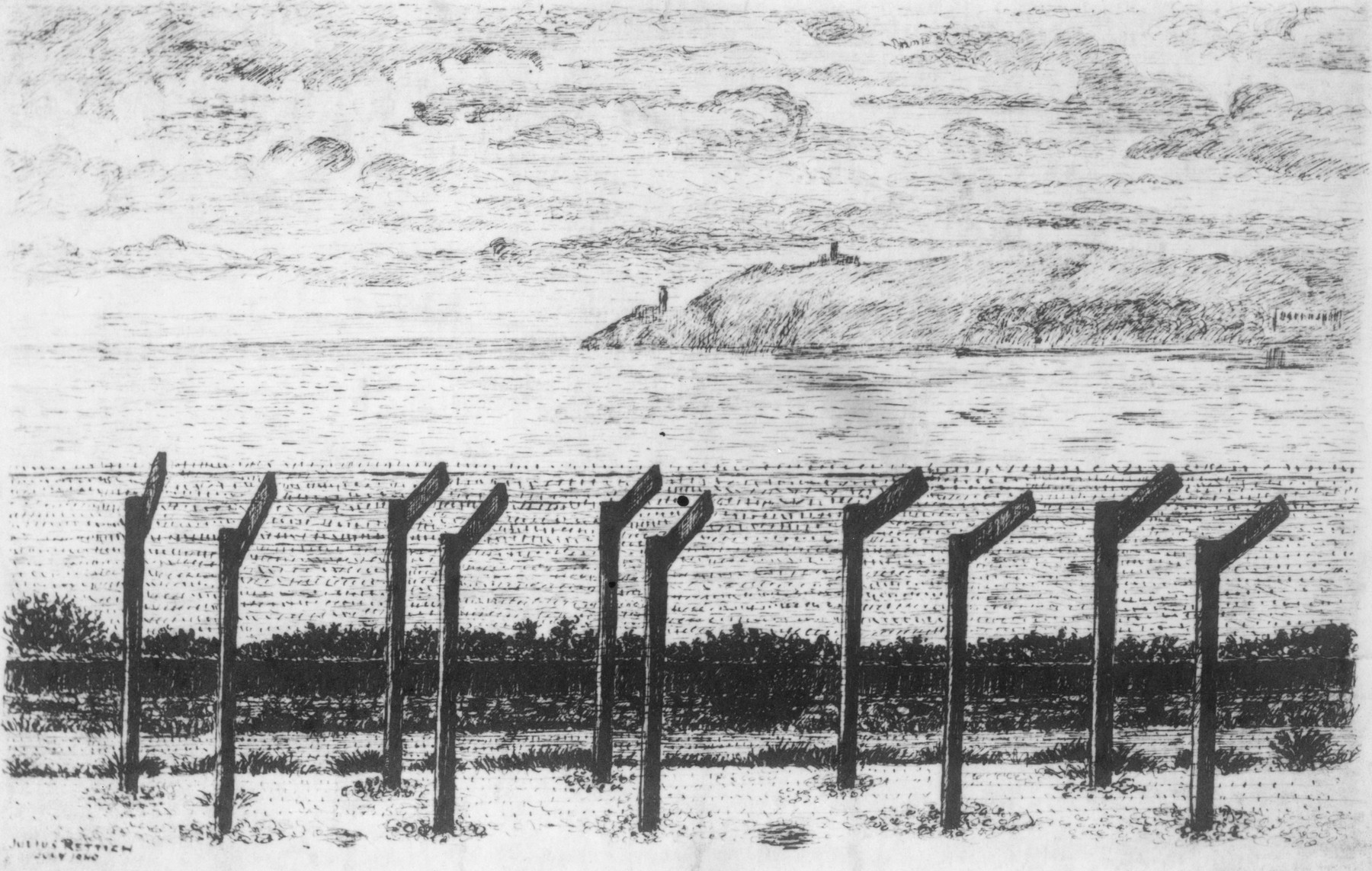 Sketch of the barbed wire fence surrounding the internment camp on the Isle of Man.